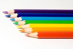Seven pencils of color of a rainbow Stock Images