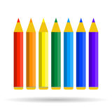 Seven pencils of rainbow colors Stock Image