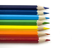 Seven Pencils of Rainbow Colours. On the White Background Royalty Free Stock Photos