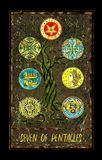 Seven of pentacles. Minor Arcana tarot card. The Magic Gate deck. Fantasy graphic illustration with occult magic symbols, gothic and esoteric concept vector illustration