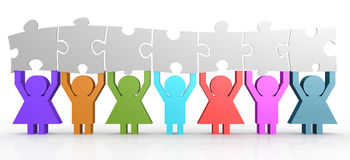 Seven people hold puzzle in a line. 3D rendering Royalty Free Stock Photos