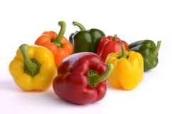 Seven pepper fruits Stock Photo