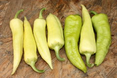 Seven peppers. White and green peppers lying on the ground Royalty Free Stock Image