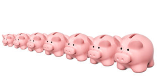 Seven piggy banks from different sizes Royalty Free Stock Photos