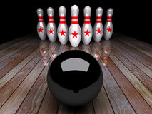 Seven-pin bowling 3D rendering. Seven-pin bowling in action,3D rendering for background used or graphic computer used Royalty Free Stock Images