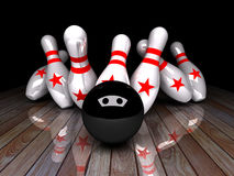 Seven-pin bowling 3D rendering. Seven-pin bowling in action,3D rendering for background used or graphic computer used Stock Images