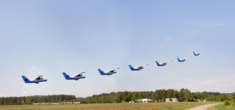 Seven planes over the aerodrome. In summer time royalty free stock photos