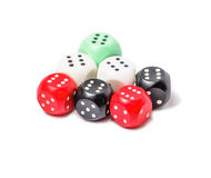 Seven playing dices isolated on white background Stock Photos