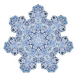 Seven-pointed snowflake pattern. In watercolor style Royalty Free Stock Photo