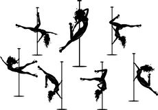 Seven pole dancers silhouettes Stock Image
