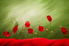 Seven poppy flowers and buds. On green background with red cloth Royalty Free Stock Photo
