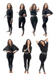 Seven poses set of curly brunette Stock Photography