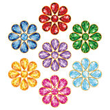 Seven Precious Flower Isolated Objects. Pattern of seven flowers, composed of precious stones of different colors - blue (sapphire), red (ruby), green (emerald Stock Photography