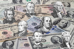 Seven presidents on the dollar background Royalty Free Stock Photos