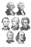 Seven Presidents with dollar bills Royalty Free Stock Photo