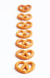 Seven Pretzels in a Row Royalty Free Stock Images