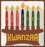 Seven Principles and Candles for Kwanzaa in Flat Style, Vector Illustration Stock Photos