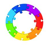 Seven Puzzle Pieces Circle Isolated. On white background. 3D render Stock Photography