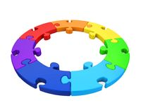 Seven Puzzle Pieces Circle Isolated. On white background. 3D render Stock Images