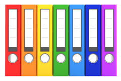 Seven rainbow color file folders isolated on white Stock Image
