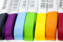 Seven rainbow colored ribbons Royalty Free Stock Photography