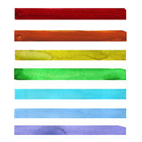 Seven rainbow colored watercolor paint strokes Stock Photo