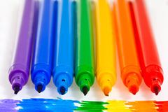 Seven rainbow felt pens Royalty Free Stock Images