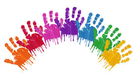 Seven rainbow hand prints Royalty Free Stock Photography