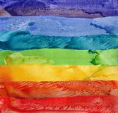 Seven rainbow watercolor paint strokes Royalty Free Stock Images