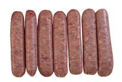 Seven raw breakfast pork sausages Royalty Free Stock Photos