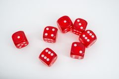 Seven red dices stock photography