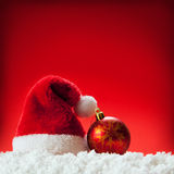 Seven red santa hats. Stock Image