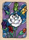 Seven of Roses. From my Tarot of the Roses. The suit of roses equates to the suit of Cups in a traditional deck Royalty Free Stock Photography