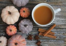 Seven rustic aged pumpkins different colors on a rustic wooden background. Seven Colorful aged pumpkins with star anise and cinnamon siicks all in horizontal royalty free stock photography