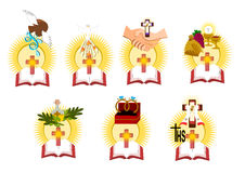 The seven sacraments. In catholic church Illustration Vector Stock Images