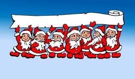 Seven Santas graphic  illustration Stock Photography