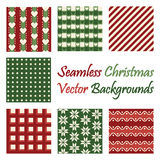 Seven seamless christmas vector backgrounds. On white Royalty Free Stock Photography