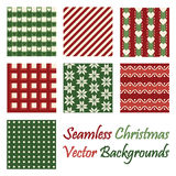 Seven seamless christmas vector backgrounds on white. Background Royalty Free Stock Photo