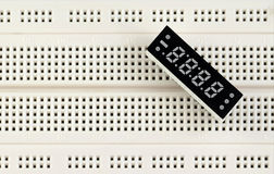 Seven-segment. Display on breadboard Royalty Free Stock Images