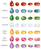Seven Sets Of Jewelery With Text. Seven different sets of cut gems - ruby, sapphire, emerald, diamond, amber, rose quartz and amethyst on a white background Royalty Free Stock Photography