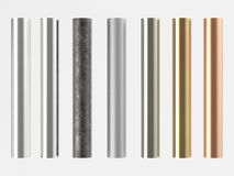 Seven shades of metal pipes isolated on white Stock Image