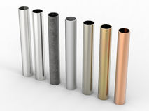 Seven shades of metal pipes on white background Stock Photos