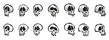 Seven Simple Cartoon Skulls Royalty Free Stock Image