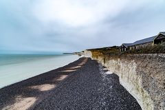 Seven Sisters Beach, East Sussex, England. Seven Sisters Beach with Cliffs, East Sussex, Eastbourne, England Stock Image