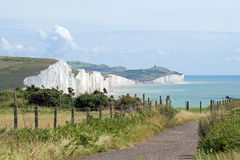 The Seven Sisters chalk cliffs, with Birling Gap a Stock Photo