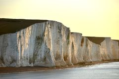 Seven Sisters. Chalk cliffs at Cuckmere Haven, East Sussex, at sunrise Stock Photo