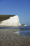 Seven Sisters Chalk Cliffs Pebble Beach Sussex Uk Royalty Free Stock Photography
