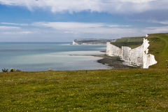 The Seven Sisters chalk cliffs between Seaford and Eastbourne. E Royalty Free Stock Image