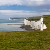 The Seven Sisters chalk cliffs between Seaford and Eastbourne. E Stock Photos