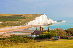 Seven Sisters Chalk cliffs from Seaford Head Royalty Free Stock Images